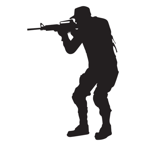 Soldier vector png. Aiming with rifle silhouette