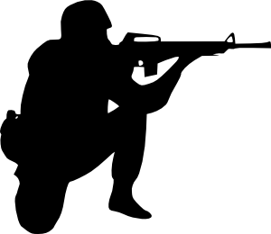 Soldiers clipart black and white. Soldier aiming clip art