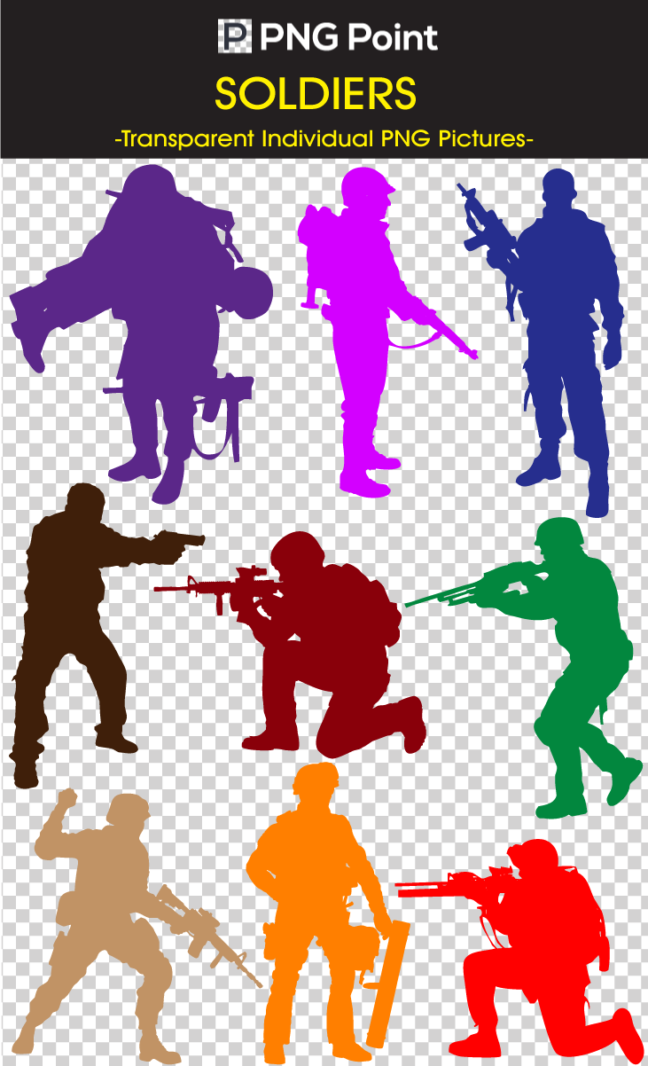 Soldiers vector background. Silhouette images icons and