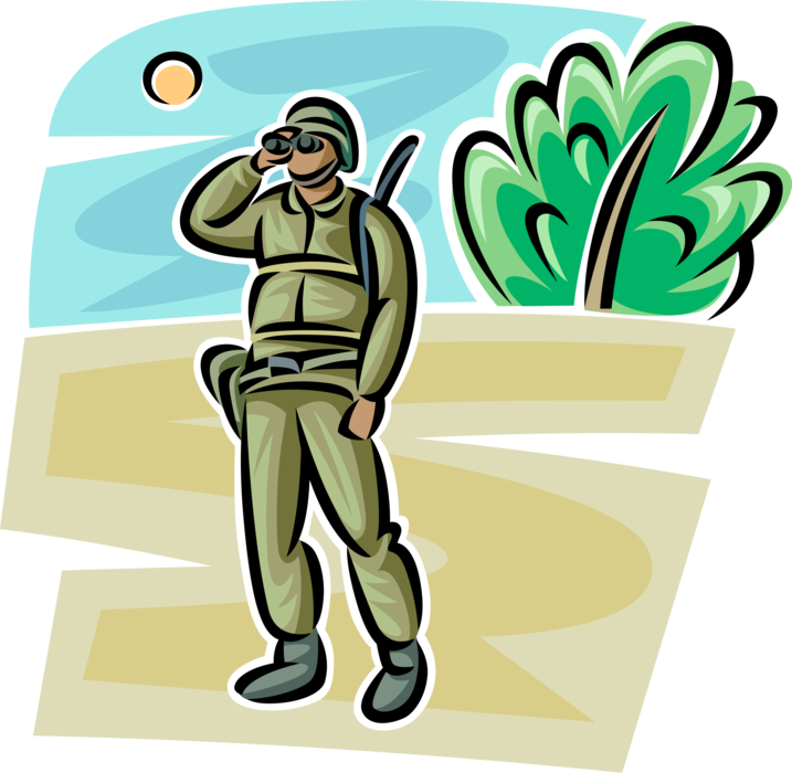 Soldiers vector illustration. Soldier surveys enemy positions