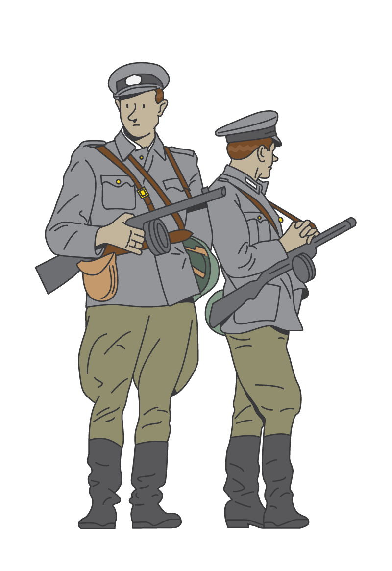 Soldiers vector illustration. From world war ww