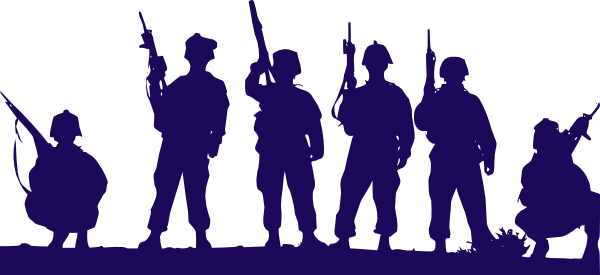 Soldiers vector illustration. Blue clip art at