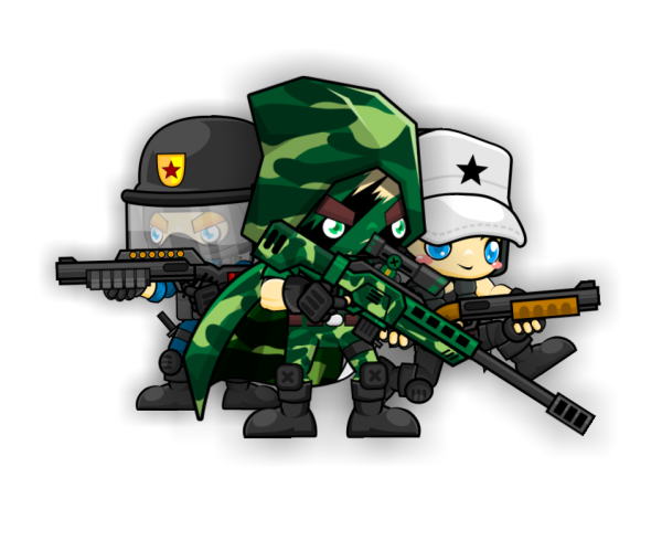 Soldiers vector animated. Character set modern game