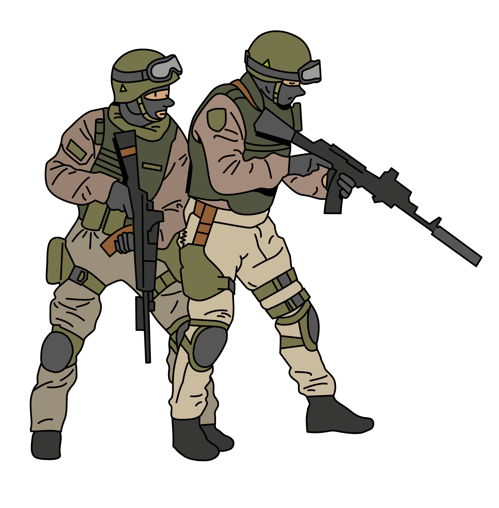 Soldiers vector illustration. Proffesional in combat stance