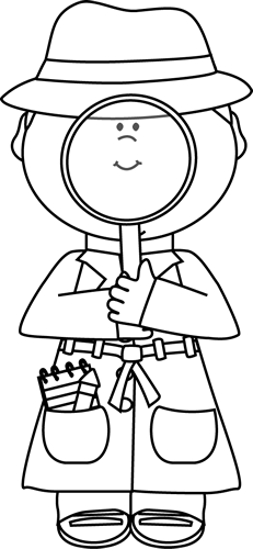 Solving clipart black and white. Detective with magnifying glass