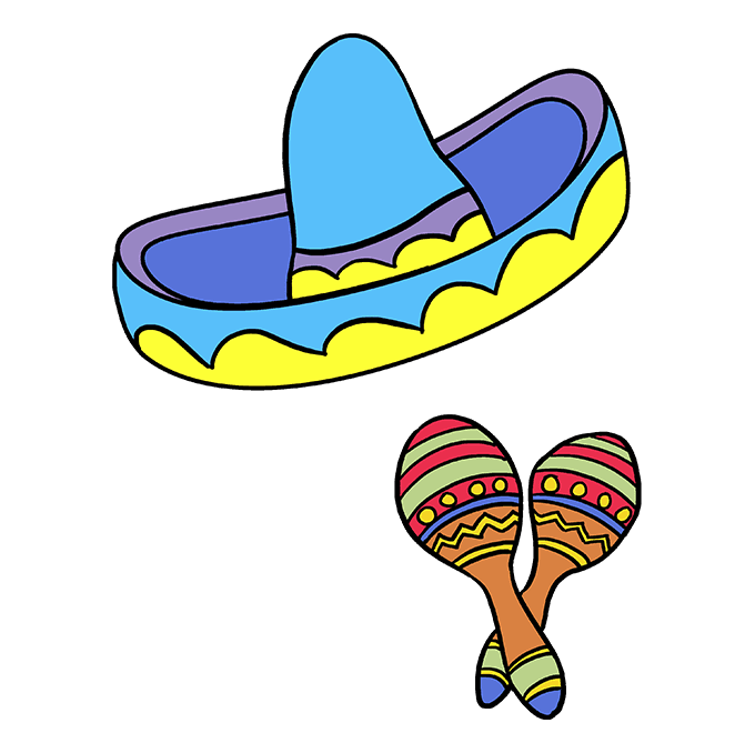 Maracas drawing hat mexican. How to draw cinco