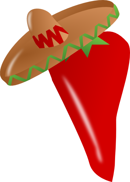 Sombrero clipart small. Red chili pepper wearing