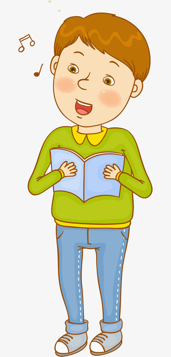 Song clipart song book. A boy singing songs