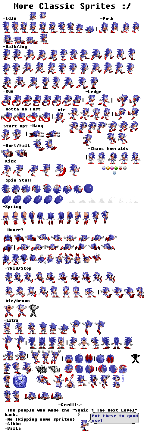 Sonic 1 sprite png. The ultimate sheet reply