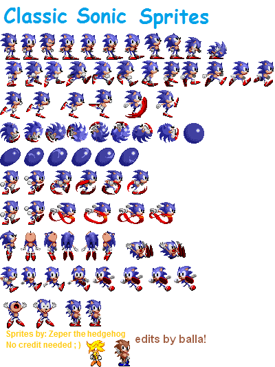 Sonic sprite png. Classic sprites edited by