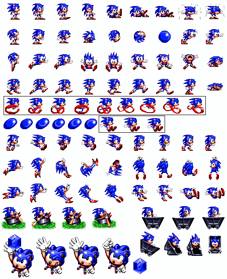 Sonic the hedgehog objects sprite strip png. Spinball sheet by winstontheechidna