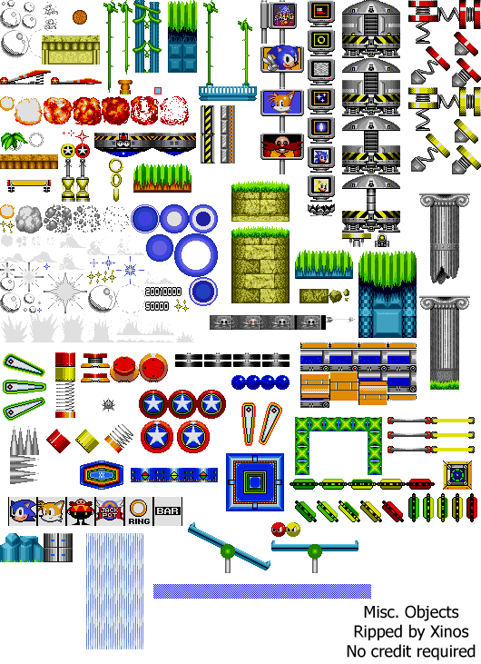 Sonic the hedgehog objects sprite strip png. Mobile dash misc spriters