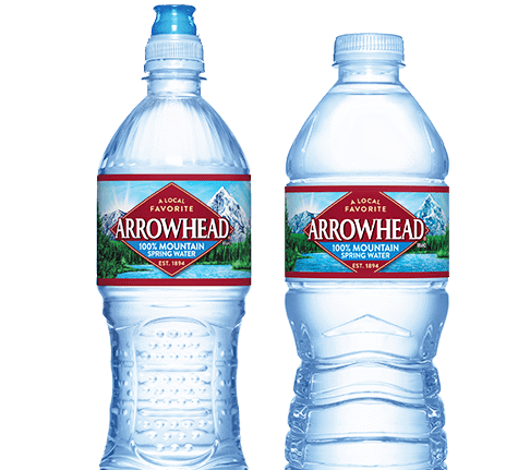 Transparent worm bottled water. Arrowhead brand mountain spring