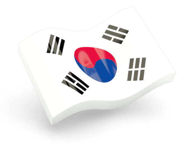 South korea flag png. Glossy wave icon illustration