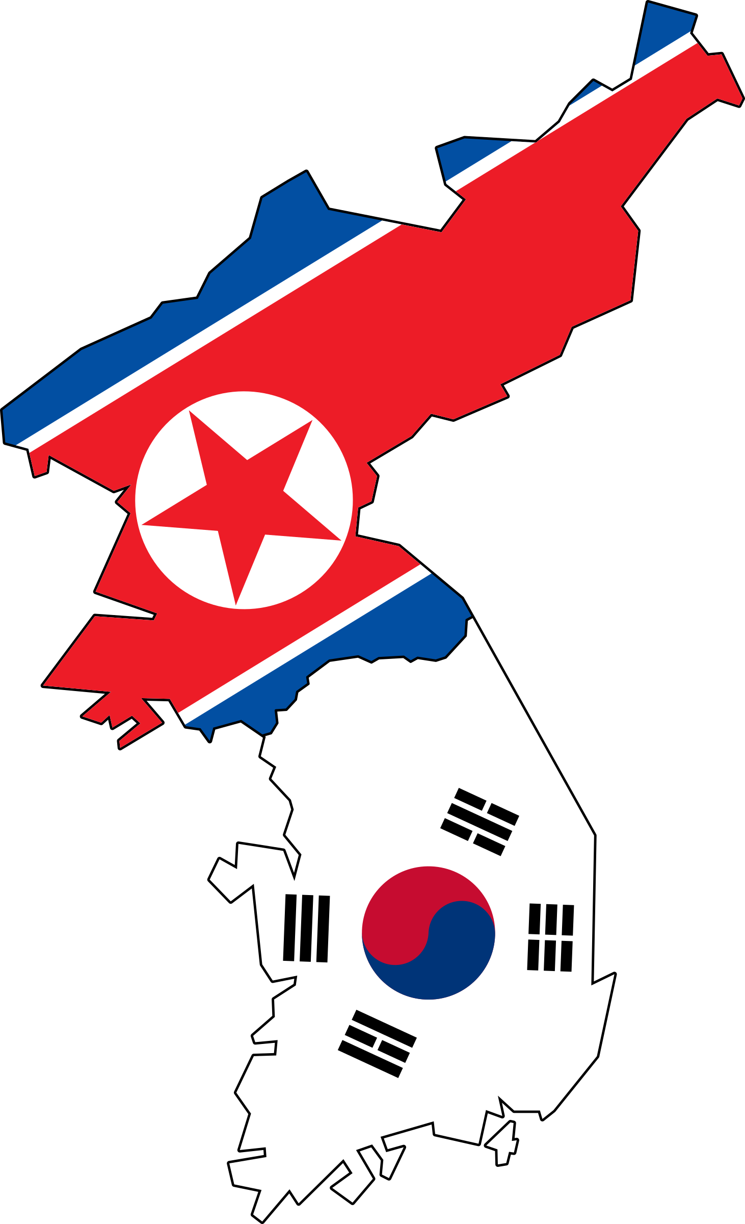 South korea map outline png. North and flag no