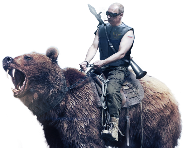Putin riding png. Rides a bear in