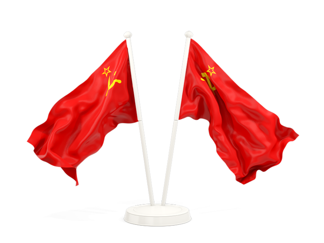 Soviet flag png. Two waving flags illustration