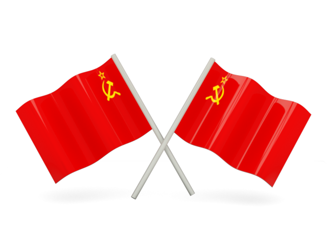 Soviet flag png. Two wavy flags illustration