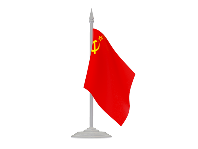 Soviet flag png. With flagpole illustration of