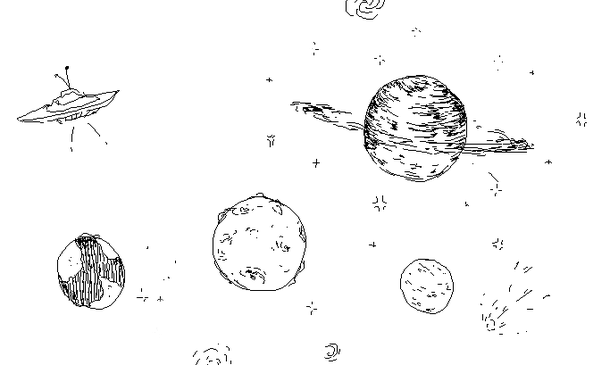 Space doodle png image. Drawing friendship black and white picture transparent download