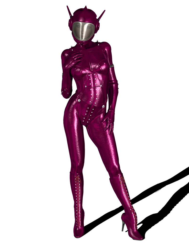 Space girl png. Pink catsuit and helmet