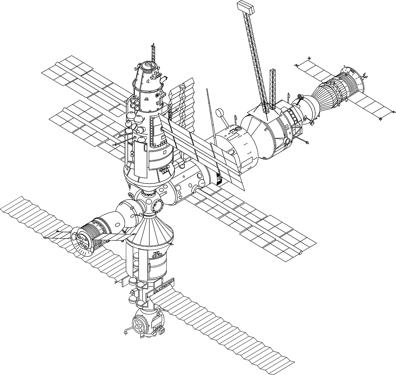 Spacecraft drawing. International space station mir