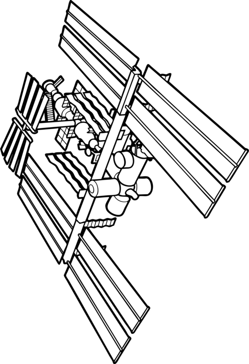 Spacecraft drawing iss. International space station astronaut