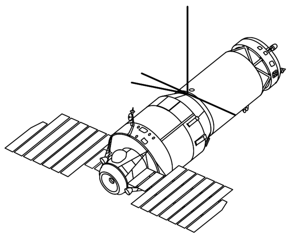 Spacecraft drawing outer space. Soviet station fired a