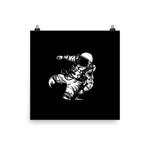 Spaceman falling png. Black print stray together