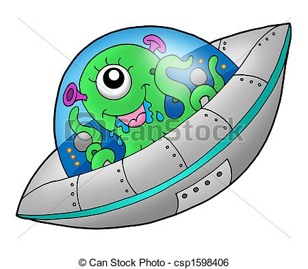 Spaceship clipart cute. Alien in color illustration banner stock
