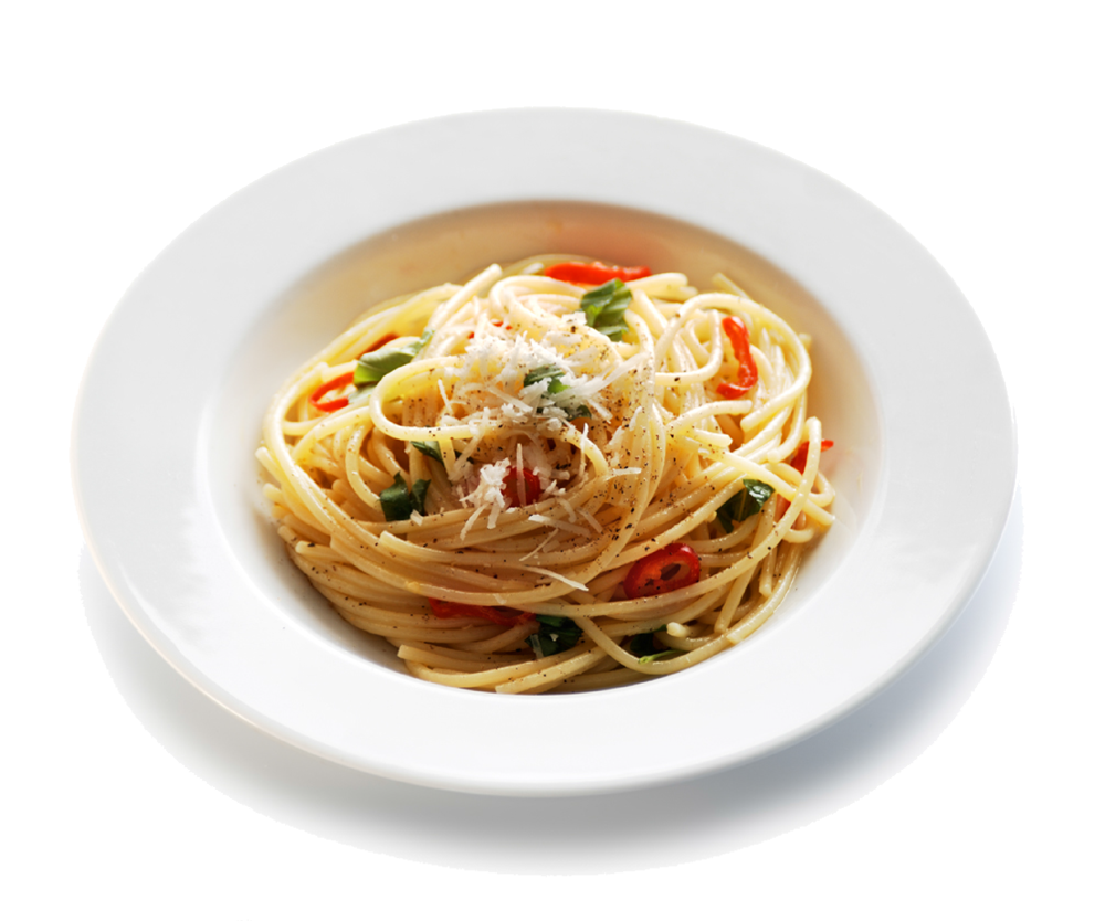Spaghetti noodles png. With chilli and garlic