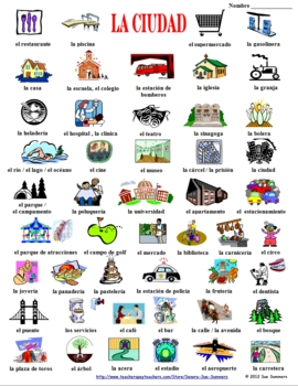 Spanish clipart vocabulary spanish. City images with words