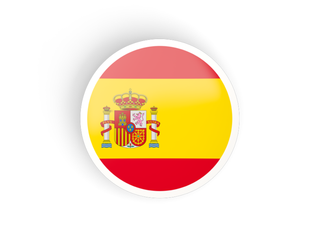Spanish flag png. Round concave icon illustration