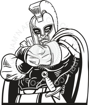 Spartan clipart black and white. With arms crossed