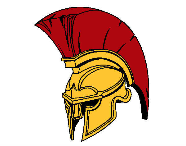Spartan clipart knight helmet. Colored page painted by