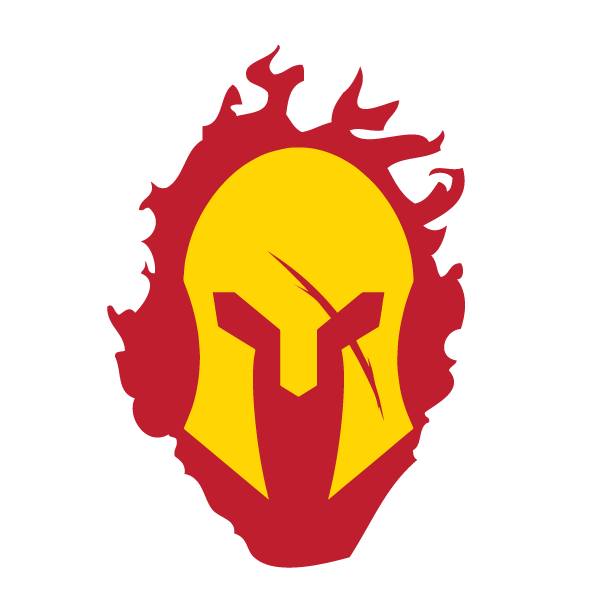 Spartan helmet logo png. With red flames decal
