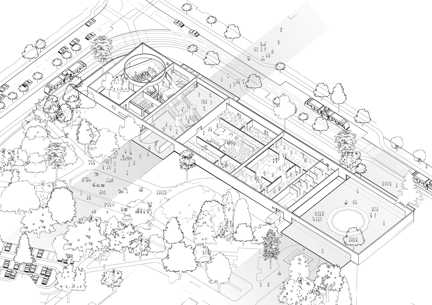 Architectual drawing black and white. Architects for urbanity bauhaus