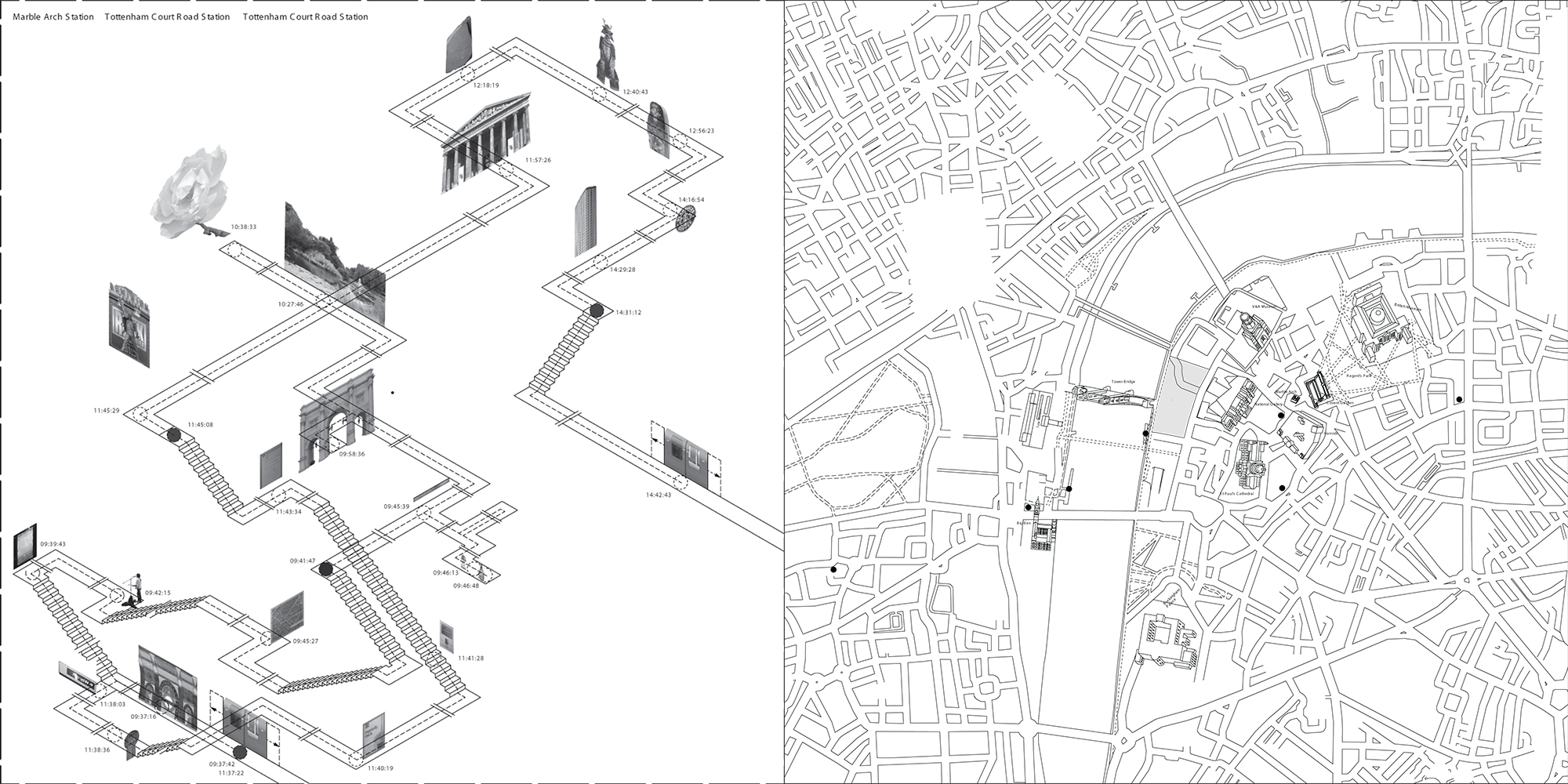 Spatial drawing collage. Aa school of architecture