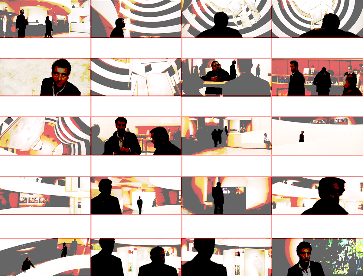 Building the guggenheim cinematic. Spatial drawing collage banner black and white download