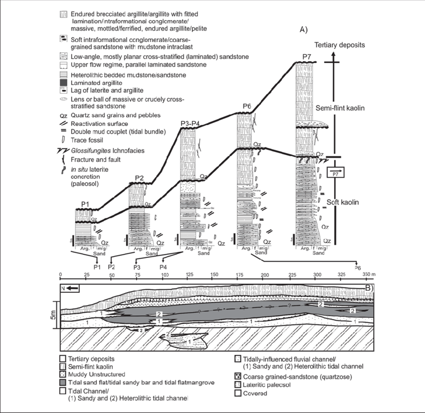 Spatial drawing section. Measured lithostratigraphic profiles a
