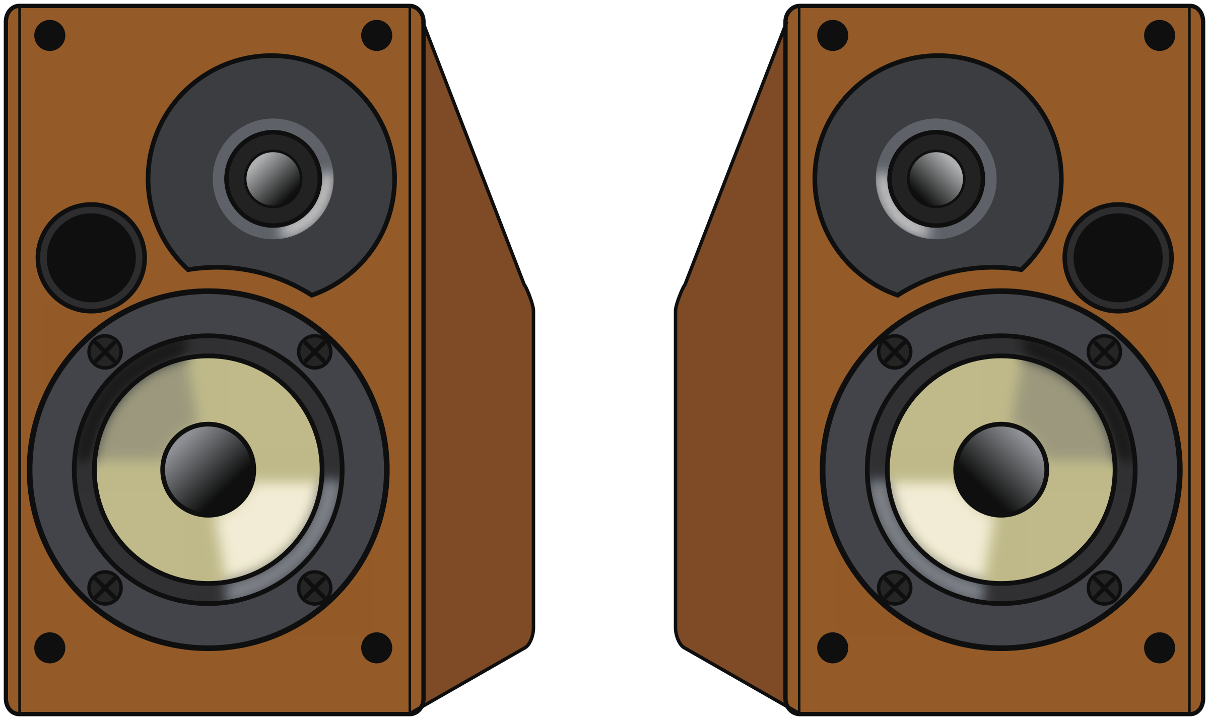 Speakers clipart technology. Pair of wooden big
