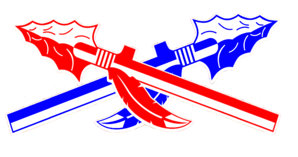 Spear clipart crossed. Spears crossing red blue