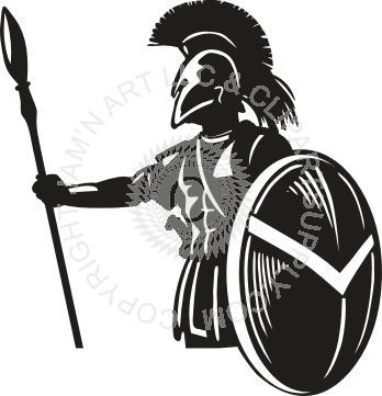 Spear clipart holding. Spartan and shield