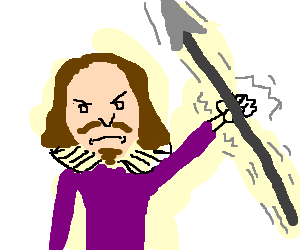 Spear clipart holding. Shakespeare and shaking a