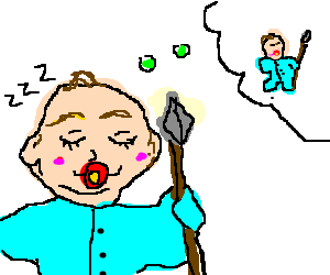 Spear clipart holding. Baby w dreaming about