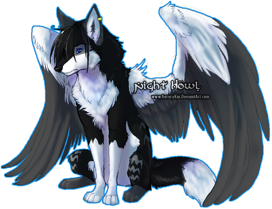 Speedpaint drawing winged wolf. Night howl on deviant
