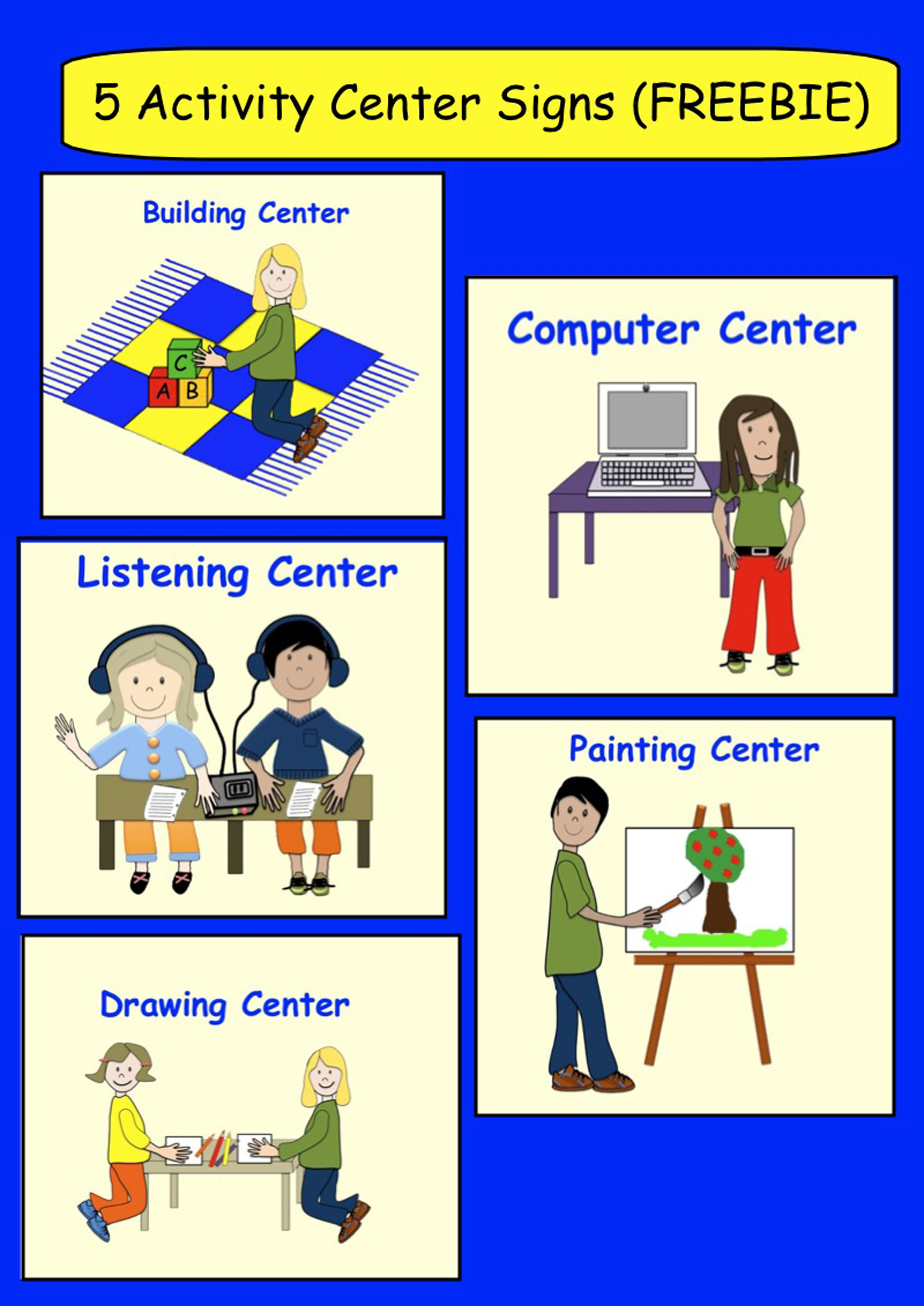 Spelling clipart centre. Freebie activity signs also