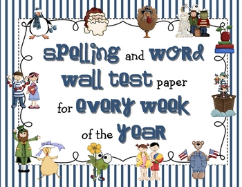Spelling clipart word wall. And test paper for