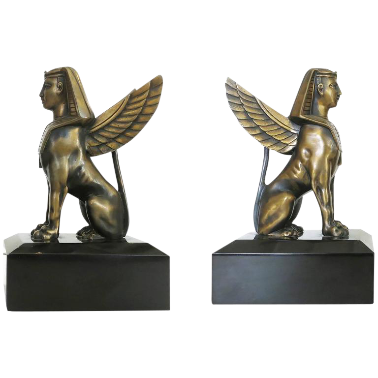 Sphinx statue png. Egyptian style bronze griffin