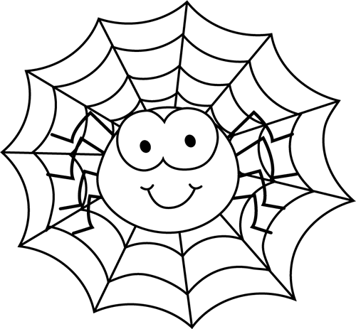 Spider clipart spider head. Black and white clip